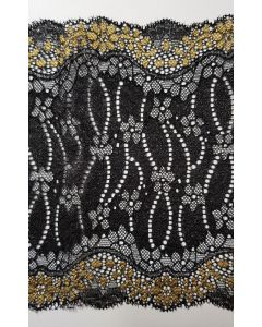 stretch lace Black and Gold - 6.5 inch wide