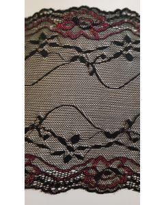 7 inch wide stretch lace Black & Pink