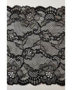Stretch lace Black & Silver - 6.5 inch wide