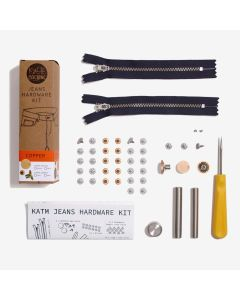 Kylie and the Machine - Jeans Hardware Kit 19cm Navy Zip/Copper Hardware