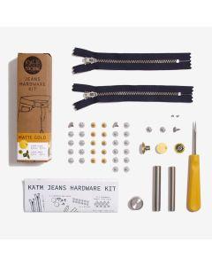 Kylie and the Machine - Jeans Hardware Kit 19cm Navy Zip/Matt Gold Hardware
