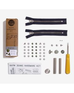 Kylie and the Machine - Jeans Hardware Kit 19cm Black Zip/Pewter Hardware