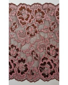 Stretch lace Pink & Brown - 7 inch wide
