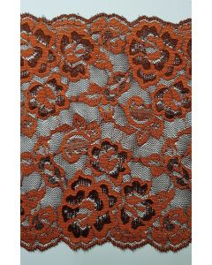 Stretch lace Rust & Brown - 7 inch wide