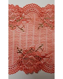 Stretch lace Salmon Pink & Green - 6.5 inch wide